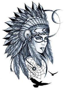 Тату идеи для тату рукав игла идея tattoo master скво Indian Women Tattoo, Indian Girl Tattoos, Indian Skull Tattoos, Indian Tattoo Design, Hand Tattoos For Women, Tattoos For Guys, Native American Tattoos, Native Tattoos, Warrior Tattoos