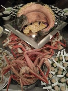 Poached stuffed Atlantic Salmon, with crab legs and sushi. All items prepared in our own kitchen. Atlantic Salmon, Crab Legs, Great Recipes, Sushi, Stuffed Mushrooms, Vegetables, Cooking, Kitchen, Food