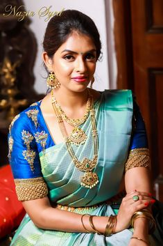 Unique statement blouses with zardozi , thread and pearl work and intricate embroidery. Wedding Saree Blouse Designs, Pattu Saree Blouse Designs, Fancy Blouse Designs, Indian Bridal Sarees, Bridal Silk Saree, Indian Beauty Saree, Pattu Sarees Wedding, Indian Bridal Fashion, Saree Trends