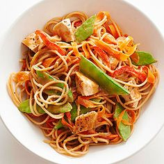 Whole Grain Spaghetti with Asian Peanut Sauce From Better Homes and Gardens, ideas and improvement projects for your home and garden plus recipes and entertaining ideas.