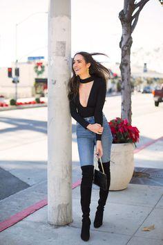 Top: tumblr black choker v neck plunge v neck denim jeans light blue jeans skinny jeans boots black