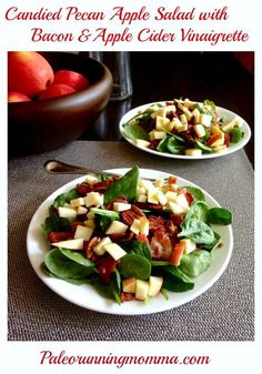 Paleo Candied Pecan Apple Salad with Bacon - A healthy fall inspired salad in a honey apple cider vinaigrette.