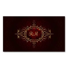 Elegant Black Touch Of Red Vintage Lace Frame Business Card Template