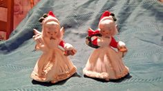 Pair of Vintage Christmas Angels Candle Holders, Spaghetti Trim. Japan