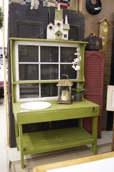 Potting bench made with window; love color