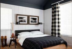 Roger + Chris - bedroom - buffalo check curtains