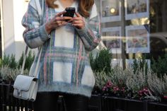 Celine , sweater , tartan , plaid , Hermes , Constance , iPhone , Chanel cover , leather pants , Balmain