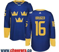 Men's Team Sweden #16 Marcus Kruger adidas Blue 2016 World Cup of Hockey Custom Player Stitched Jersey