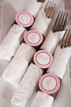 Cowgirl Napkin Rings Birthday Party - Pink & Brown
