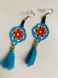 Arte Huichol Crochet Earrings, Etsy Seller, Unique, Creative, Jewelry, Art, Jewels, Schmuck, Jewerly