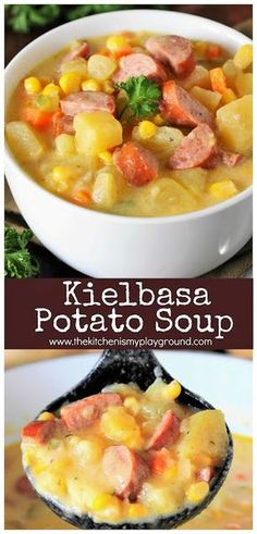 Kielbasa Potato Soup ~ This hearty soup is loaded with great flavor, and can be on the table in a jif! #kielbasa #soup #souprecipes #heartysoup www.thekitchenismyplayground.com