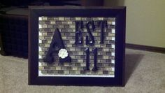 Glass tile back splash from Lowes, Wooden Letters from Hobby Lobby & Michaels, Card Stock and a hot glue gun.