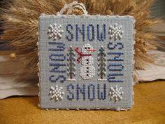 cross stitch snowman ornament