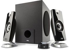 Cyber Acoustics 2.1 Powered Speaker System with Subwoofer and Control Pod Delivering Quality Audio (CA-3080)