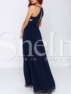 Shop Navy Spaghetti Strap Maxi Dress online. SheIn offers Navy Spaghetti Strap Maxi Dress & more to fit your fashionable needs.