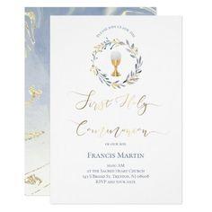 elegant wreath   First Communion Invitation   Zazzle.com