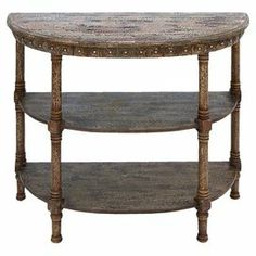 "Weathered wood demilune console table with 2 bottom shelves.      Product: Console tableConstruction Material: WoodColor: Distressed brownFeatures: Two shelvesDimensions: 32"" H x 36"" W x 16"" D"