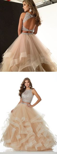 sparkly two piece champagne long prom dress with open back 0782 by RosyProm, $166.99 USD