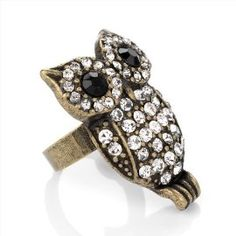 Minerva Collection Crystal Owl Fashion Ring Burnt Gold