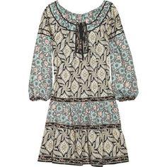 Anna Sui Vine-print silk-blend tunic dress