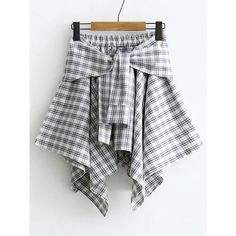 Tie Waist Grid Asymmetrical Skirt (€13) ❤ liked on Polyvore featuring skirts, black and white, knee length summer skirts, knee high skirts, cotton summer skirts, black and white tartan skirt and tartan plaid skirt