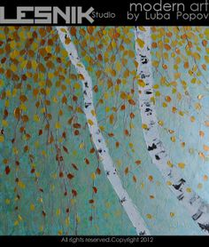 "Modern Painting Birch Tree Abstract Acrylic on Extra Large Square Canvas 36""x36"" Oversize wall art. $275.00, via Etsy."
