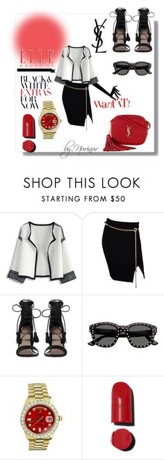 """""""B&W fantastic!"""" by nurinur ❤ liked on Polyvore featuring Chicwish, Tadashi, Zimmermann, Yves Saint Laurent, Rolex and Chanel"""