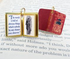 Miniature Book Charm Quote Pendant  The by VintageCharmedBooks