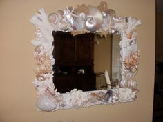 Mirror with Beautiful shell embellishment by itscandygirl on Etsy,