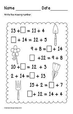 Image result for grade 3 addition balancing equations worksheets pdf ...