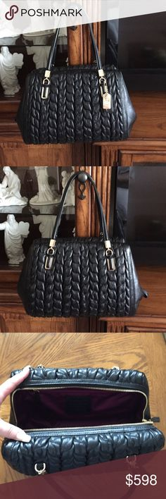 NWOT Coach Madison Madeline East/West Satchel NWOT Coach Madison Madeline East/West Satchel in gathered Chevron Leather. Brand New w/o tags. Beautiful black gathered leather. Fully lined inside. 1 zippered pocket and 2 side pockets inside. Approximately 12L x 10H x 6D. See pic 4 for serial number, D1382-25985. Dust bag included. Coach Bags Satchels
