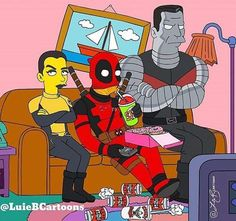 Deadpool Crew Simpsonized - Luie B Cartoons
