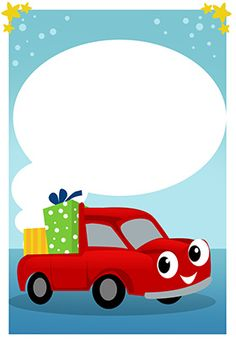 """""""car and gifts"""" printable invitation. Customize, add text and photos. print for free!"""