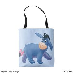 This Disney Inspired Tote Bag with Eeyore is upper cute.  This bag is perfect for the Disney Parks and everyday shopping.  The periwinkle blue of the bag and Eeyore's smile and pink bow make my day.