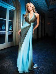 vestido de festa com cor da moda longo