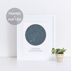 Personalized Star Map Print - This is the actual view of the night sky created from the date and location you provide :) *** This is an illustration of the actual night sky as seen from any location, day and time on Earth which was created from a catalog of over 1 millions stars and planets. The catalog covers dates from 1900-2100.  Comes framed with a white mat. Each print is made using heavy weight matte paper and archival inks. We use the highest quality plexiglass for all our framed…