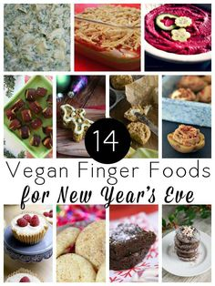 14 easy, delicious vegan finger food recipes for New Year's Eve plus a few cocktail recipes to round things out.                                                                                                                                                                                 More