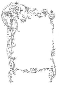 Marco gráfico vintage - Scrolly y Pretty, Floral Illustration, Jugendstil Design, Wedding Graphics, Vintage Maps, Vintage Graphic, Antique Maps, Vintage Frames, Vintage Frame Tattoo, Vintage Drawing