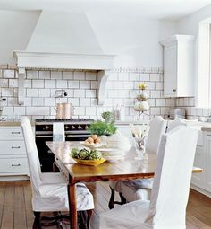 White kitchen with large subway tile