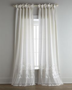 Each Caprice Tie-Top Curtain, Pearl (Ivory) - Pom Pom at Home