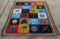 A Galaxy Far, Far Away - free crochet Star Wars inspired blanket pattern by Courtney Laube. There are charts (some linked) for all the squares, instructions for the borders and the blanket edging. Star Wars Crochet, Crochet Stars, C2c Crochet, Manta Crochet, Afghan Crochet Patterns, Free Crochet, Blanket Crochet, Tapestry Crochet, Blanket Yarn