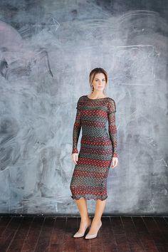 Платье миди, мультиколор