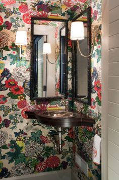 Petite powder room papered in Shumacher's Chiang Mai - Liz Caan. Love, love, love this wallpaper for a powder room!
