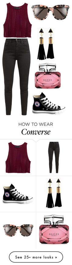 """""""Untitled #2242"""" by aiag on Polyvore featuring Levi's, Converse, Gucci and Gentle Monster"""