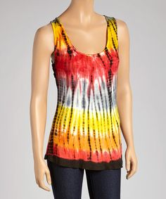 Another great find on #zulily! Black Tie-Dye Knot-Back Swing Tank - Women by Raya Sun #zulilyfinds
