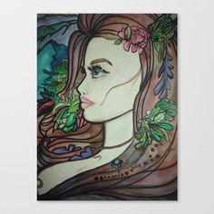 """Fine art print on bright white, fine poly-cotton blend, matte canvas using latest generation Epson archival inks. Individually trimmed and hand stretched museum wrap over 1-1/2"""" deep wood stretcher bars. Includes wall hanging hardware. #artist  #popart  #painting #decor #wallart  #tattoo #boho"""