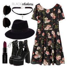 """90's grunge look"" by anchilly23 ❤ liked on Polyvore featuring Yves Saint Laurent, WithChic, Maison Michel, Calvin Klein, Smashbox, women's clothing, women, female, woman and misses"