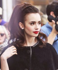 Lily Collins+ red lips.