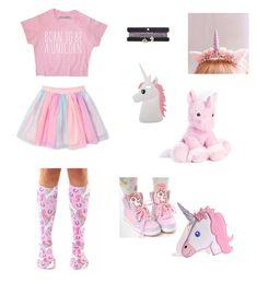 """""""Little unicorn"""" by damageddoll ❤ liked on Polyvore featuring Miss Selfridge, rainbow, pastelgoth, kawaii, unicorn and fairykei"""