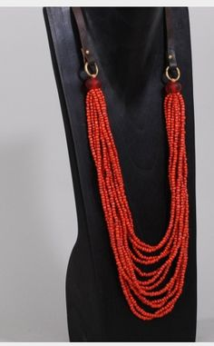Red seed bead necklace, ribbon or leather closure